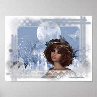 Winter Moon Fantasy Woman Poster Print