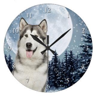 Winter Moon Husky Clock