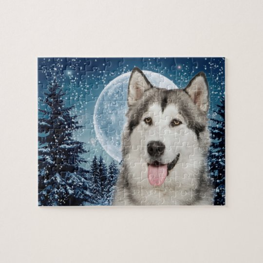 Winter Moon Husky Jigsaw Puzzle