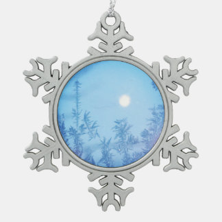 Winter moon pewter snowflake decoration