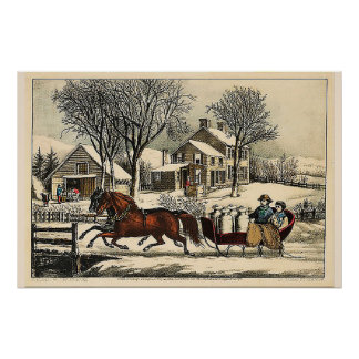 Winter Morning in the Country Currier & Ives Poster