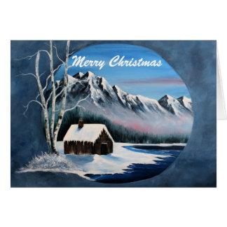 Winter mountain scene, card