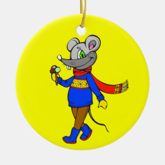 Winter Mouse Round Ceramic Decoration
