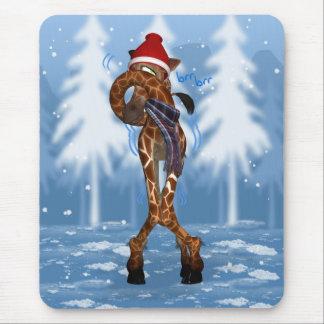 Winter Mousepad / Mousemat Giraffe, Cold Giraffe