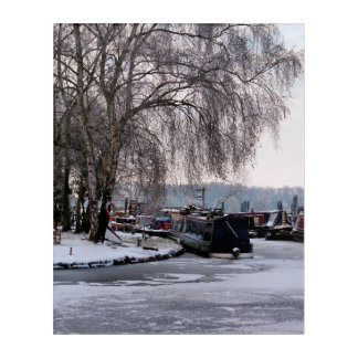WINTER NARROWBOATS ACRYLIC WALL ART