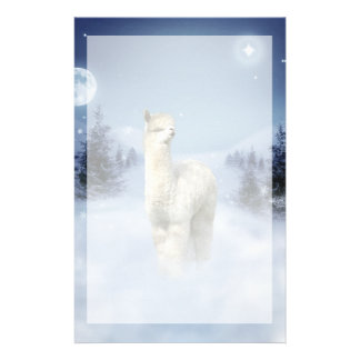 Winter Night Alpaca Stationery