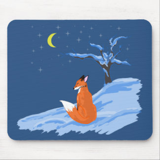 Winter Night Fox Mouse Pad