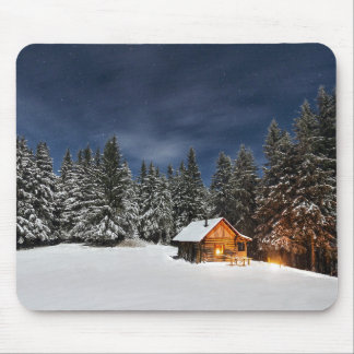 Winter Nights Log Cabin Mouse Pad
