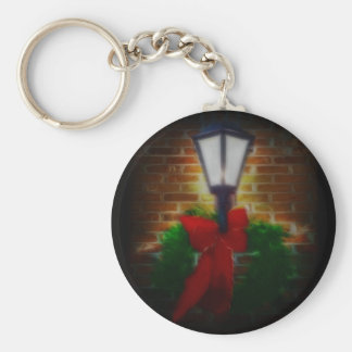 Winter Nights Wreath and Lamp Basic Round Button Key Ring