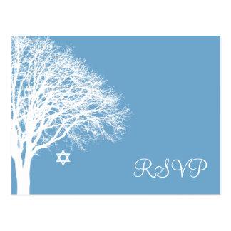 Winter Oak Tree Blue White Bat Mitzvah RSVP Postcard