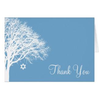 Winter Oak Tree Blue White Bat Mitzvah Thank You Card