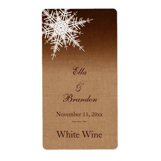 Winter Ombre Wedding Wine Label