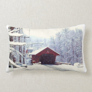 WINTER ON THE COVERED BRIDGE pillow
