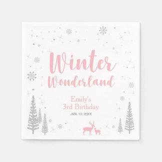 Winter Onederland 1st Birthday Party Paper Napkin