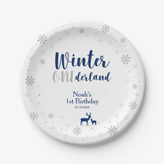 Winter Onederland 1st Birthday Party Paper Plates