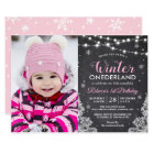 Winter ONEderland Baby Girl 1st Birthday Photo Card