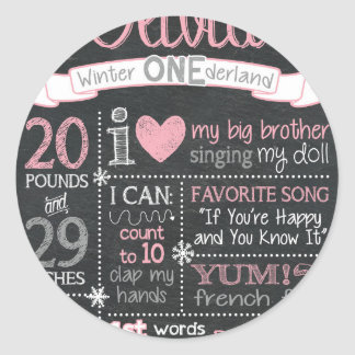 Winter ONEderland Birthday Chalkboard Sign Round Sticker