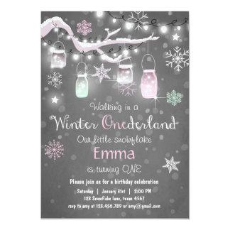 Winter Onederland birthday invite Mint pink Lights