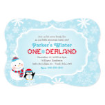 Winter ONEderland Birthday | Snowman and Penguin Invitation
