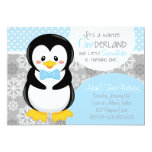 Winter ONEderland Blue Penguin Invitation
