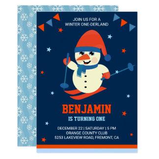 Winter Onederland Cute Snowman 1st Birthday Invite
