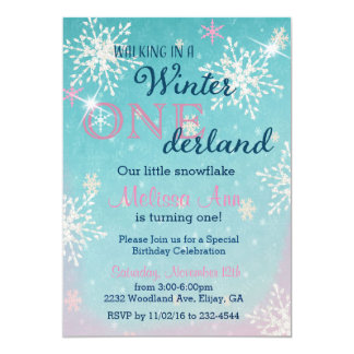 Winter Onederland First Birthday Invitaiton Card
