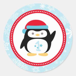 Winter ONEderland First Birthday | Penguin Design Round Sticker