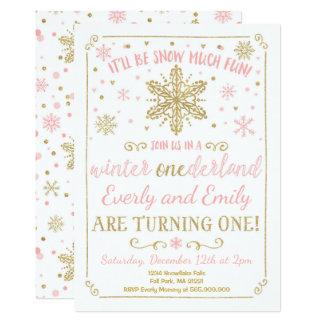 Winter ONEderland Sibling Birthday Invitation