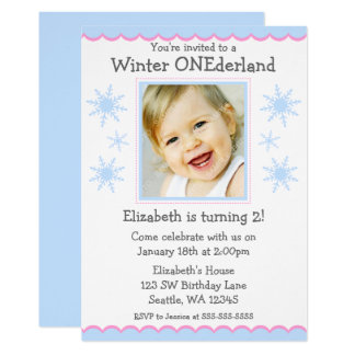 Winter Onederland Snowflakes Photo Birthday Party Card