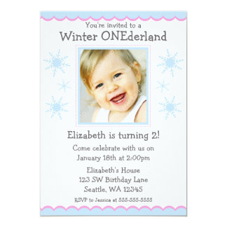 "Winter Onederland Snowflakes Photo Birthday Party 5"" X 7"" Invitation Card"