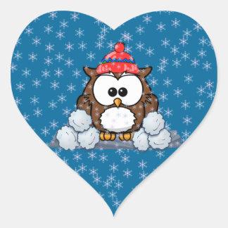 winter owl heart sticker