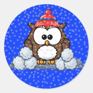 winter owl round sticker