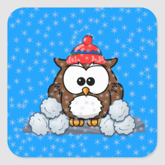 winter owl square sticker