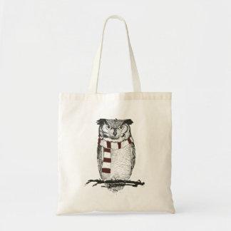 Winter owl tote bag