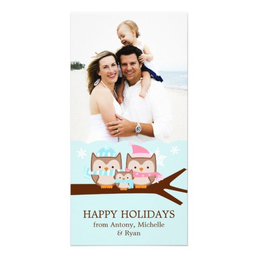 Winter Owls Family Personalized Photo Card