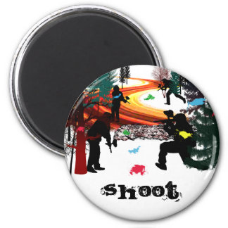 Winter Paintball in the Woods Refrigerator Magnet