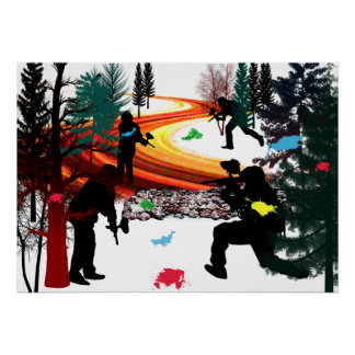 Winter Paintball in the Woods Poster