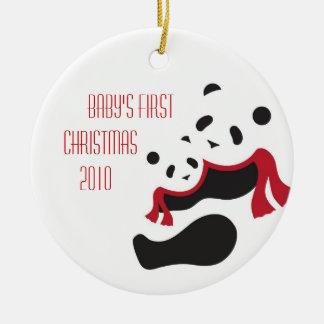 Winter Panda Bear Baby's First Christmas Ornament