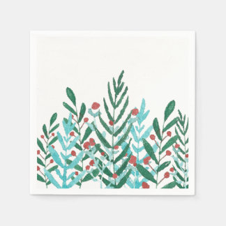 Winter party decor, Christmas greenery and berries Paper Napkins