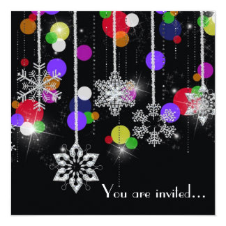 "Winter Party Plans 5.25"" Square Invitation Card"