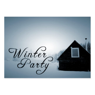 winter party snowed in cabin pack of chubby business cards
