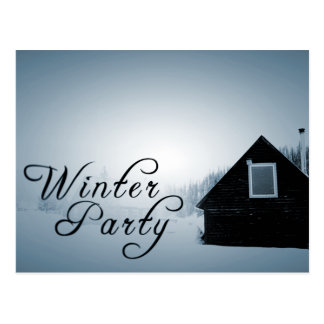 winter party : snowed in cabin postcard