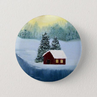 Winter Peace Frozen Ice Snow River Trees Landscape 6 Cm Round Badge