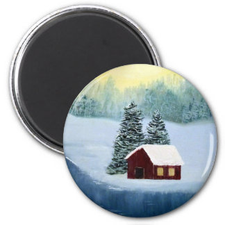 Winter Peace Frozen Ice Snow River Trees Landscape 6 Cm Round Magnet