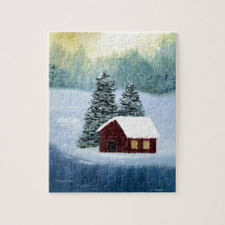 Winter Peace Frozen Ice Snow River Trees Landscape Jigsaw Puzzle