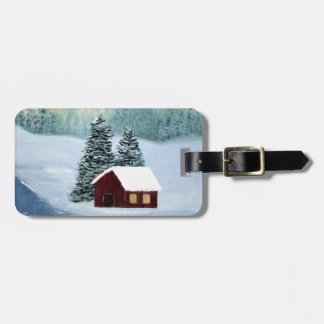 Winter Peace Frozen Ice Snow River Trees Landscape Luggage Tag