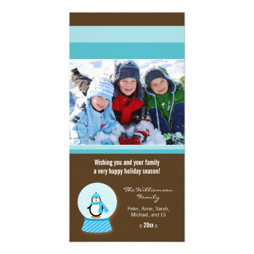 Winter Penguin Snowglobe Custom Holiday Photocard Customized Photo Card