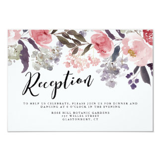 Winter Peonies Floral Wedding Reception Card