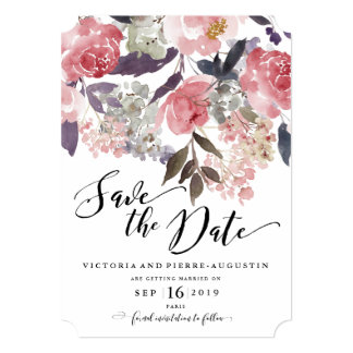 Winter Peonies Floral Wedding Save the Date Card