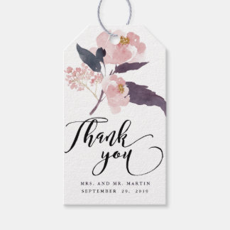Winter Peonies Floral Wedding Thank You Favor Gift Tags